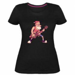Жіноча стрейчева футболка Rock'n'roll Santa