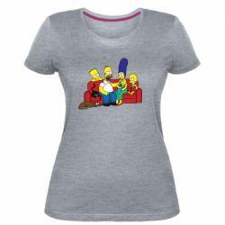 Женская стрейчевая футболка Simpsons At Home