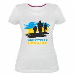 Жіноча стрейчева футболка War veteran оf Ukraine