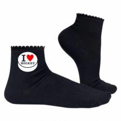 Женские носки I love hockey