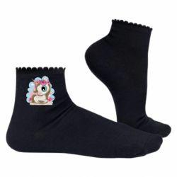 Жіночі шкарпетки Unicorn with flowers