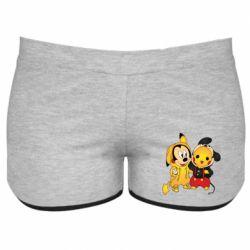 Женские шорты Mickey and Pikachu