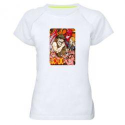Женская спортивная футболка AC DC Art Banner - FatLine