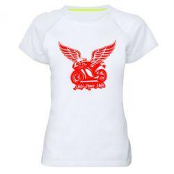 Женская спортивная футболка Байк с крыльями - FatLine