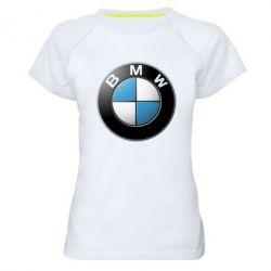 Женская спортивная футболка BMW Logo 3D - FatLine