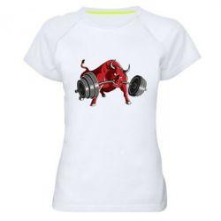 Женская спортивная футболка Bull with a barbell - FatLine