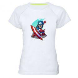 Женская спортивная футболка Cartoon Captain America - FatLine