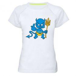 Женская спортивная футболка Чертик з трезубом - FatLine