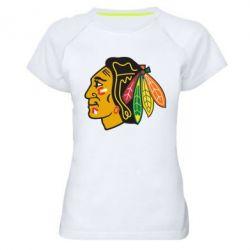 Женская спортивная футболка Chicago Black Hawks - FatLine