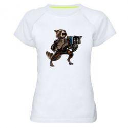 Женская спортивная футболка Енот Стражи Галактики