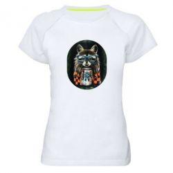 Женская спортивная футболка Енот в очках - FatLine