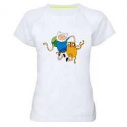 Женская спортивная футболка Фин и Джейк танцуют 2 - FatLine