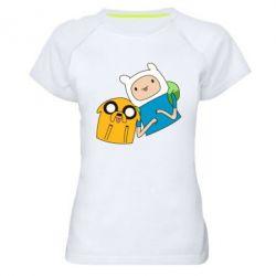 Женская спортивная футболка Фин и Джейк - FatLine
