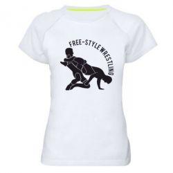 Женская спортивная футболка Free-style wrestling