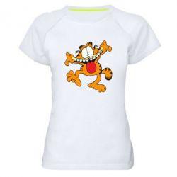 Женская спортивная футболка Гарфилд кривляка - FatLine