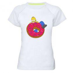 Женская спортивная футболка Гомер и Пончик - FatLine
