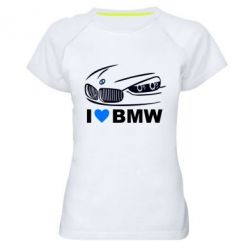 Женская спортивная футболка I love BMW 2 - FatLine