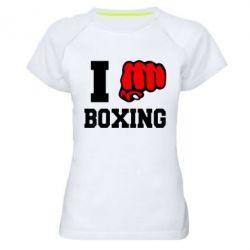 Женская спортивная футболка I love boxing - FatLine