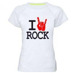 Женская спортивная футболка I love rock - FatLine