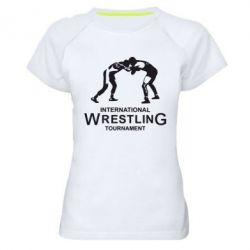 Женская спортивная футболка International Wrestling Tournament - FatLine