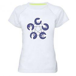 Женская спортивная футболка Камень, ножницы, бумага, ящерица, спок - FatLine