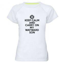 Женская спортивная футболка Keep Calm and carry on