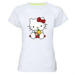 Женская спортивная футболка Kitty с букетиком - FatLine