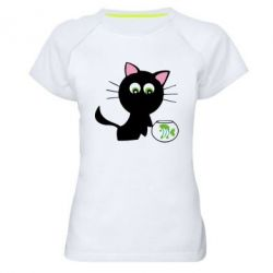 Женская спортивная футболка Кошечка и аквариум - FatLine