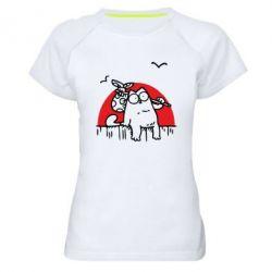 Купить Женская спортивная футболка Кот Саймона на фоне заката, FatLine