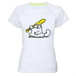 Женская спортивная футболка Кот Саймона с битой - FatLine