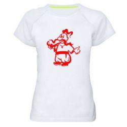 Женская спортивная футболка Козак з люлькою - FatLine