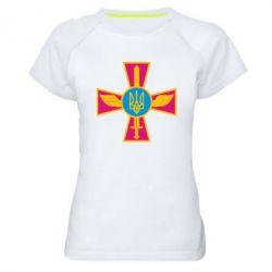 Женская спортивная футболка Крест з мечем та гербом - FatLine