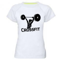 Женская спортивная футболка Кроссфит со штангой - FatLine