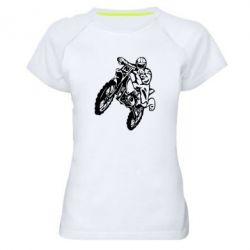 Женская спортивная футболка Кроссовый байк - FatLine