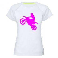 Женская спортивная футболка Кроссовый мотоцикл
