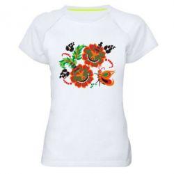 Женская спортивная футболка Квіти України - FatLine