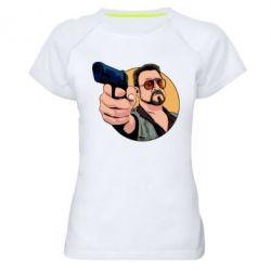 Жіноча спортивна футболка Лебовськи з пістолетом