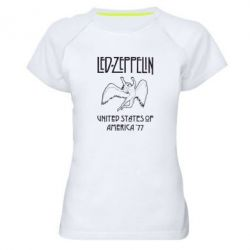 Женская спортивная футболка Led Zeppelin United States of America 77 - FatLine