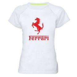 Женская спортивная футболка логотип Ferrari - FatLine