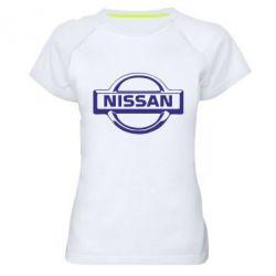 Женская спортивная футболка логотип Nissan - FatLine