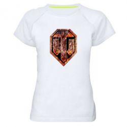 """Женская спортивная футболка Логотип World Of Tanks """"Раскаленный металл"""" - FatLine"""