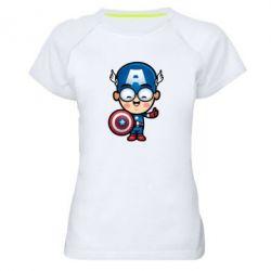 Женская спортивная футболка Маленький Капитан Америка - FatLine