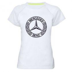 Женская спортивная футболка Mercedes Logo - FatLine
