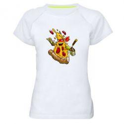 Женская спортивная футболка Микеланджело кусок пиццы - FatLine