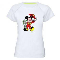 Женская спортивная футболка Микки Джентельмен - FatLine