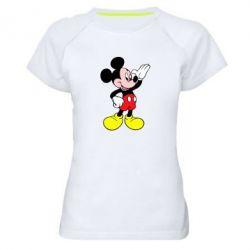 Женская спортивная футболка Микки Hello - FatLine
