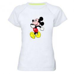 Женская спортивная футболка Микки шагает - FatLine