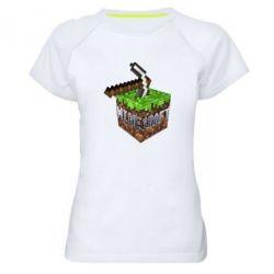 Женская спортивная футболка Minecraft Logo Сube