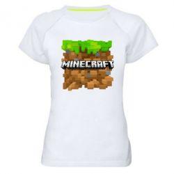 Женская спортивная футболка Minecraft Main Logo - FatLine