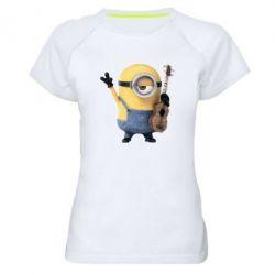 Женская спортивная футболка Миньон с гитарой - FatLine